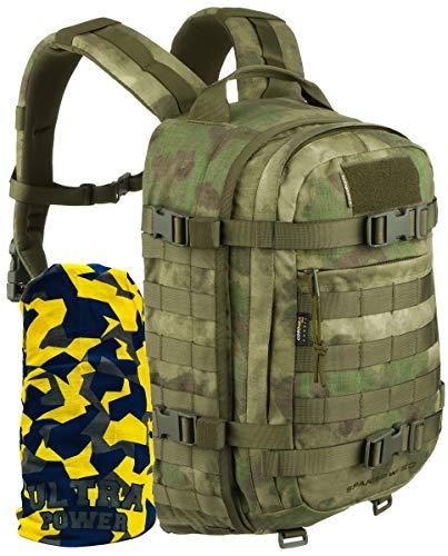 Wisport Armee Rucksack Herren Männer | Survival Backpack Molle | Militär | Military | Army Backpack 20L | Taktik | Cordura | Sparrow 20 II + Ultrapower Halstuch, Camouflage: A-TACS FG