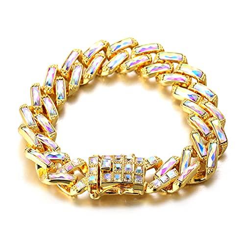 HALUKAKAH Diamante Cubano Cadena para Hombre,15MM Chapado en Oro Real de 18k Color Láser Cadena de...