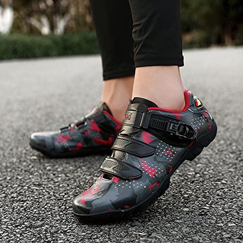 BSTL Calzado de Ciclismo Antideslizante, Calzado de Bicicleta de Montaña y Carretera Transpirable Sin Bloqueo, Calzado Deportivo Asistido con Dynamic Luminous, Zapatos de Fondo Plano,Red-41