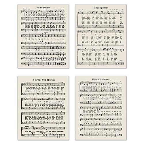 Religious Christian Hymns - Set of 4 (8 inches x 10 inches) Photo Prints - Gospel Sheet Music Photos