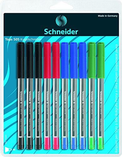 Schneider Schreibgeräte Kugelschreiber Tops 505, Kappenmodell, M, sortiert, 10er Blisterkarte sortiert