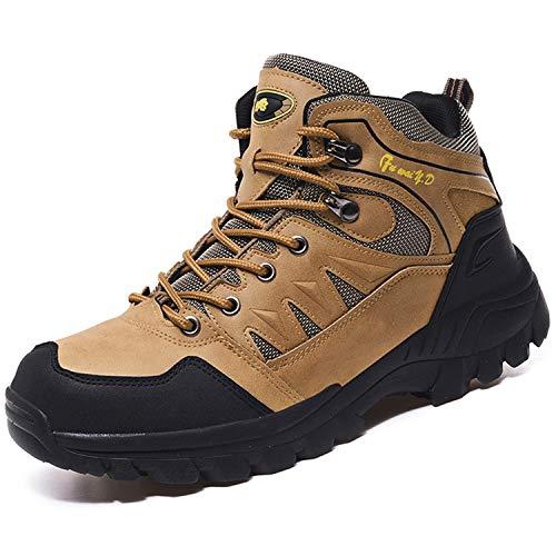 Topwolve Zapatillas de Senderismo para Hombre Zapatillas de Trekking Botas de Montaña Antideslizantes Al Aire Libre Zapatos de Deporte,Marrón,46 EU