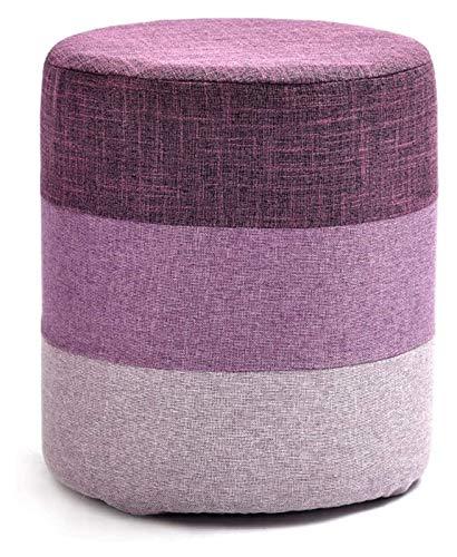 Otomanas y reposapiés Tela de Lino Redondo Sofá Suave Taburete Otomano Cubo de Madera de Madera, Taburetes de Comedor Lavables Asiento de reposapiés bajo (Color : Purple)