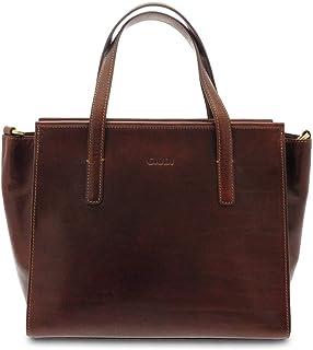 GIUDI ® - Borsa Donna in pelle vacchetta, vera pelle, tracolla, a mano,Made in Italy. (Marrone)