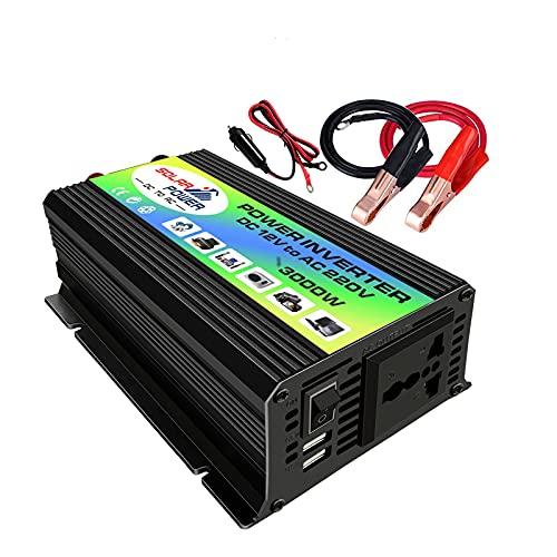 Convertidor de transformador de voltaje inversor Solar 3000W DC 12V a Ac 110v / 220v Inversor de coche con 2 puertos Usb y salida de CA