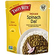 Tasty Bite Indian Entree Spinach Dal 10 Ounce, Fully Cooked Indian Entrée with Spinach Cooked with Yellow Lentils in a Lightly Spiced Sauce, Vegan, Gluten Free, Microwaveable, Ready to Eat