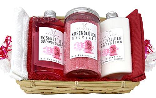 Lashuma Wellness Geschenkset Rosenblüten 6 tlg, Duschgel & Shampoo, Körpermilch, Badesalz, 2x Handtuch 30x50 cm Rot und Creme im Geschenkkorb