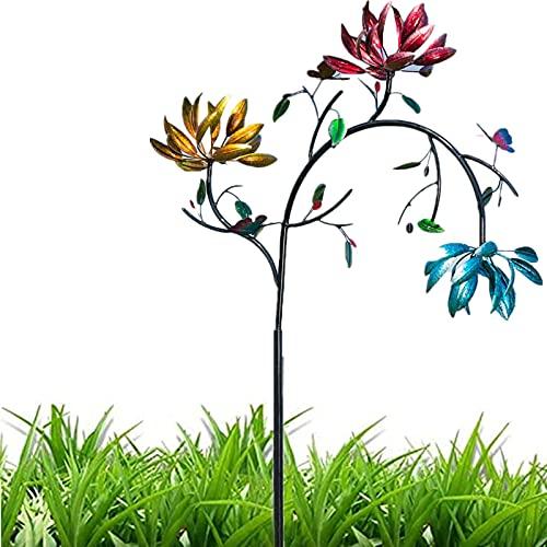Große Metall-Windspinnerin mit drei sich drehenden Blumen und Schmetterlingen Windmühlen-Windskulptur, mehrfarbige Blumen-Windspinnerin für Garten- und Gartenkunstdekoration im Freien (1.8m*30cm)