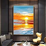 JHGJHK Pintura al óleo Abstracta del Paisaje de la Puesta del Sol en la Lona...