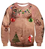 uideazone Unisex Ugly Christmas Sweatshirt 3D Funny Chest Hair Design Printed Casual Novelty Xmas Pullover Sweater Shirt