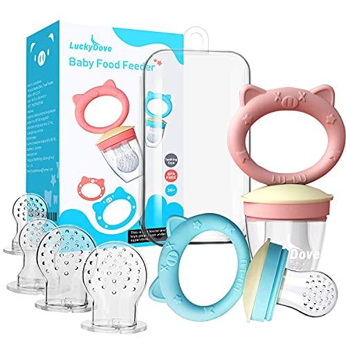 LuckyDove Baby-Schnuller (2 Stück), für frische Lebensmittel, Schnuller, Spielzeug zum Zahnen von Früchten, für Kleinkinder und Kinder (Silikon-Design), BPA-frei