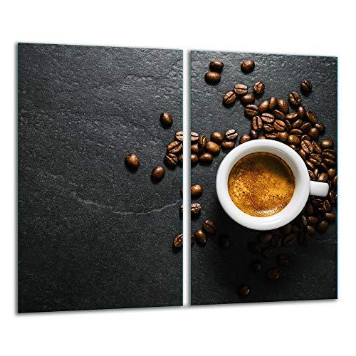 TMK | 2 placas para cubrir la vitrocerámica de 2 piezas de 30 x 52 cm, para cocina eléctrica, inducción, protección contra salpicaduras, tabla de cortar | granito de café
