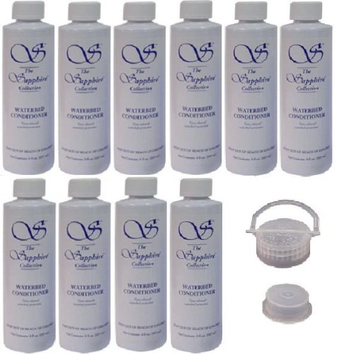 10 Bottles of Blue Magic 8 oz Sapphire Waterbed Conditioner with a Cap & Plug for Hardside & Softside Water Bed Mattresses