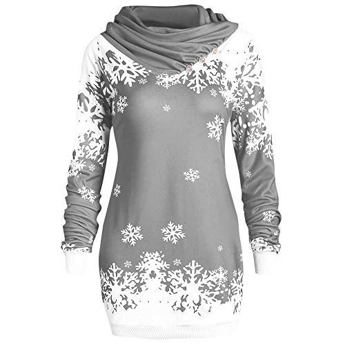 Songqiang Moda Mujer Sudaderas con Capucha Feliz Navidad Copo De Nieve Impreso Tops Sudadera con Cuello Vuelto Promociones De Bajo Precio Sudaderas con Capucha Delgadas-Gris_S_China