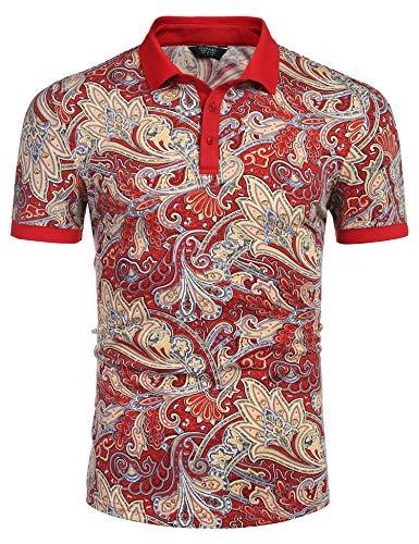 COOFANDY Herren Paisley Poloshirt Casual Kurzarm Blumendruck Hemd - Rot - X-Groß