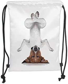 Drawstring Backpacks Bags,Yoga Decor,Dog Upside Down Relaxing with Closed Eyes And Doing Yoga Calm Therapy Humor Animal Print,White Brown Soft Satin,5 Liter Capacity,Adjustable STR