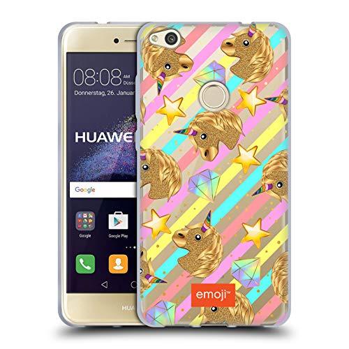 Head Case Designs Oficial Emoji Unicornio Estampados de Lentejuelas Doradas Carcasa de Gel de Silicona Compatible con Huawei P8 Lite (2017)