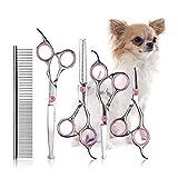 YTNT 5 Pieces of Pet Hairdressing Scissors Set Flat Cut Teeth Pet Grooming Scissors Stainless Steel Steel Comb Hairdressing Supplies