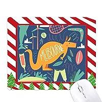 メルボルンオーストラリアのカンガルーのテニス・サーフィン ゴムクリスマスキャンディマウスパッド