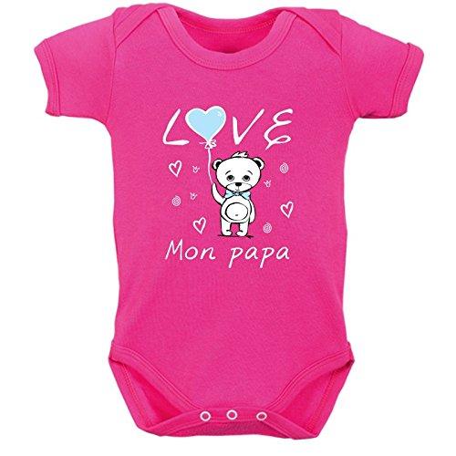 bodybebepersonnalise.fr Body bébé Humour, Bodies Enfant Tendre, Love Papa, Cadeau fête des pères, Manches Courtes, Coton - Fushia, 0-3 Mois