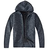 Gioberti Boy's Full Zip Knitted Cardigan Sweater with Hoody and Sherpa Lining, Melange Blue, Size 7