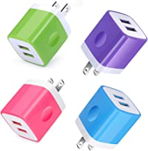 Wall Charger, HUHUTA 4 Pack 2.1A Universal USB Phone Charger Block Box Adapter Cube Replacement for iPhone, iPad, Samsung Galaxy, Moto Z4/G7/X4, Google Pixel, LG, HTC, Sony and More