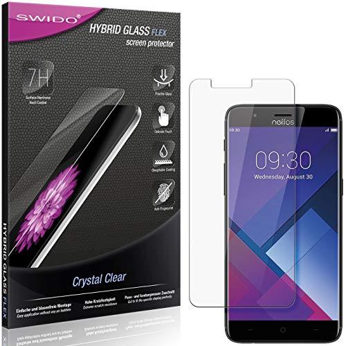 SWIDO Panzerglas Schutzfolie kompatibel mit TP-Link Neffos N1 Bildschirmschutz-Folie & Glas = biegsames HYBRIDGLAS, splitterfrei, Anti-Fingerprint KLAR - HD-Clear