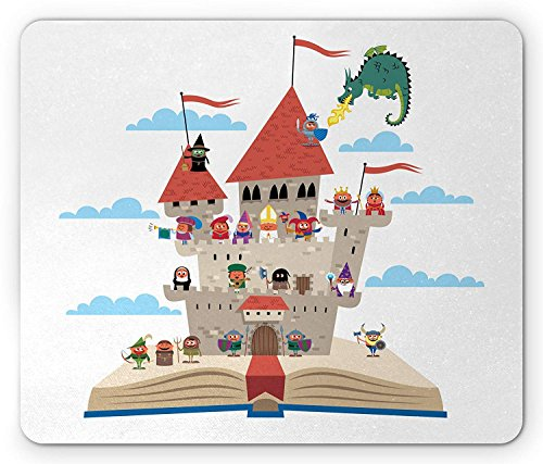 Castle Mouse Pad, Pop Up Book Themed Illustratie met Kasteel Belangrijke Middeleeuwse figuren en een Draak, Standaard Grootte Rechthoek Anti-slip Rubber Mousepad, Multi kleuren