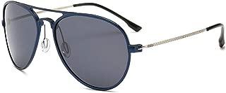 LUKEEXIN Men's Polarized Driving Sunglasses, Ultra Light, Retro,UV Protection (Color : Blue)
