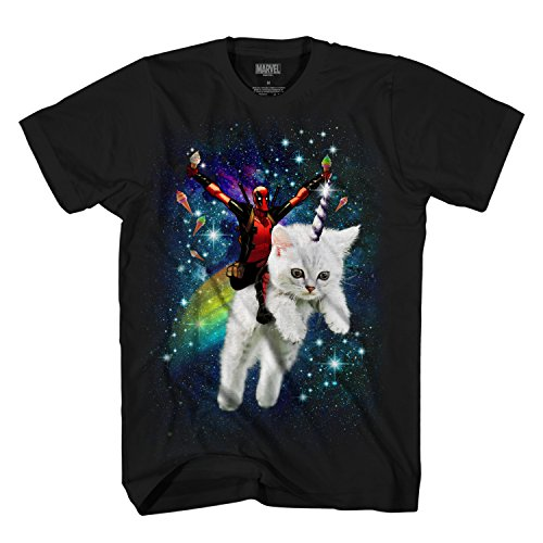 Marvel Deadpool Space Trip Unicorn Kitty Adult T-Shirt (Large, Black)