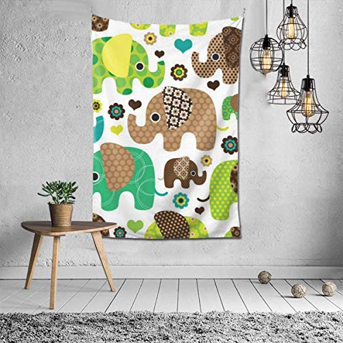 N/A – Decoración de pared psicodélico, manta de playa, tapiz indio de pared de 106 x 152 cm, elefante bohemio Boho
