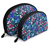 Watercolor Southern Summer Floral Navy Travel Portable Cosmetic Bags Organizer Set of 2 for Women Teens Girls