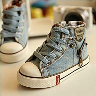 أحذية الأطفال Denim Canvas Sports Breathable Children Flat Boots Shoes, Size:26(Light Blue) أحذية الأطفال (Color : Light Blue)