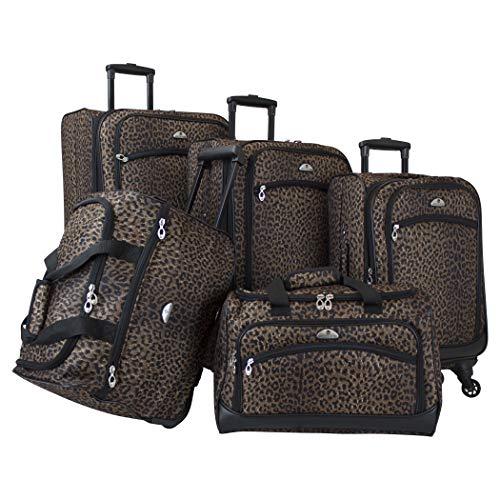 American Flyer 5-teiliges Spinner-Kofferset, Leopardenmuster, Schwarz