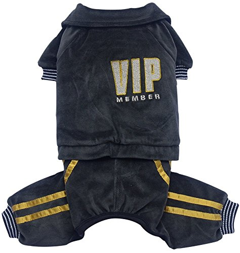 Doggy Dolly Drf010 Jogging pour Chiens VIP, Noir, Winter, Taille : XXL