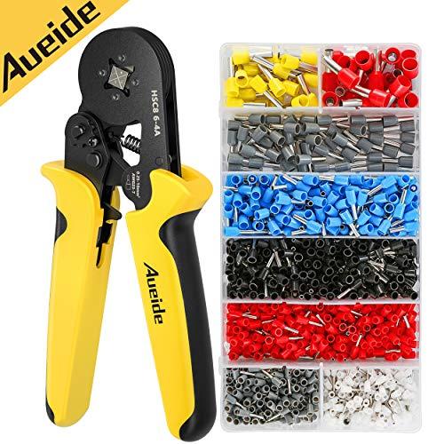 AUEIDE Crimpzange Aderendhülsen Zange Set mit 1200 Stück Kabelschuhe Tool Kit 0.25-10,00 mm² Aderendhülsenzange Fitting Crimp Tool für isolierte, unisolierte Kabelschuhe 10mm2 Aderendhülsen