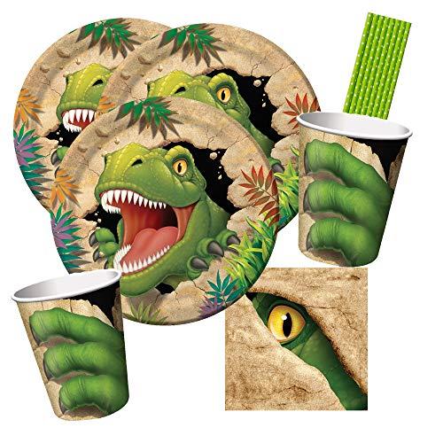 CC/Hobbyfun 40-teiliges Party-Set Dinosaurier - Dino - Alarm - Teller Becher Servietten klein Trinkhalme für 8 Kinder