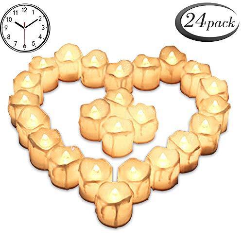 24er Led Teelichter mit Timerfunktion,Batteriebetriebene LED Kerzen, 6 Stunden An und 18 Stunden Aus,warmes Weiß flackernde batteriebetriebene LED kerzen