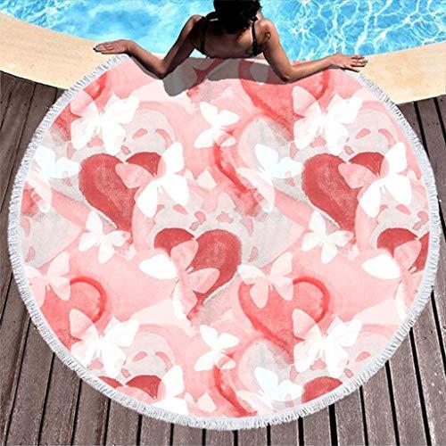 Lolyze Toalla de playa de microfibra con diseño de mariposas y corazón, para dos personas, color blanco, 150 cm