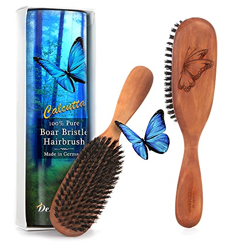 Made in Germany, 100% Pure Calcutta Wild Boar Bristle Hair Brush, Model CLC, Extra Stiff 1st Cut Natural Bristles, Pear Wood Handle, by Desert Breeze Distributing