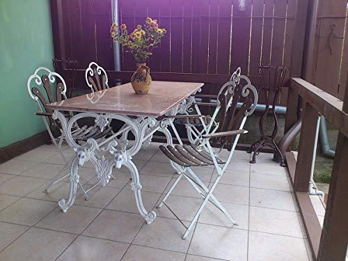 Casa Padrino Jugendstil Gartenmöbel Set Antik Weiss - 1 Tisch + 4 Stühle - Antik Stil Design 180 cm - Eisen mit massiver Marmorplatte