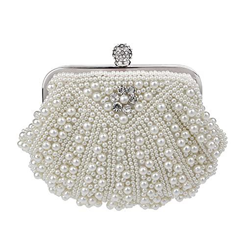 Pochette de mariage vintage faite à la main avec perles et diamants - Couleur : blanc nacré - Taille : S