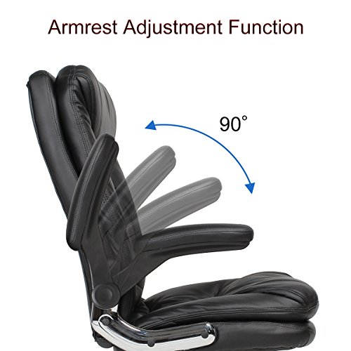 YAMASORO Ergonomic Executive Office Chair Black,High Back Leather Computer Chair Flip up Arm Rests,Office Desk Chairs with Wheels for Heavy People