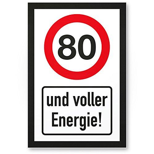 Bedankt! 80 jaar vol energie, plastic bord - Cadeau 80. Verjaardag, cadeau-idee verjaardagscadeau achtstigste, verjaardagsdeco/feestdecoratie/feestaccessoires/verjaardagskaart