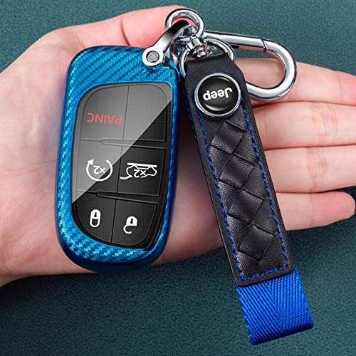 Soft Carbon Fiber Finish TPU Car Key Fob Cover for Jeep Grand Cherokee Renegade Dodge RAM Durango Charger Challenger Journey Dart Fiat Smart Remote Key Case Key Cover, with a Keychain