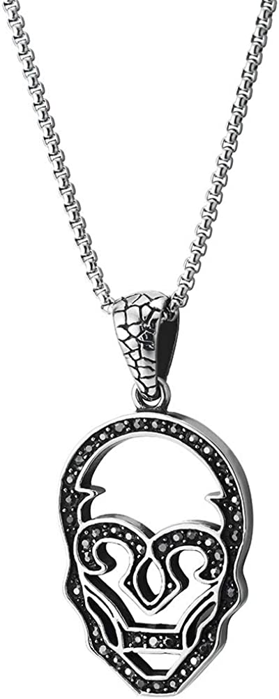 COOLSTEELANDBEYOND Gothic Mens Women Steel Flat Clown Skull Pendant Necklace with Black Cubic Zirconia, 30 inch Chain