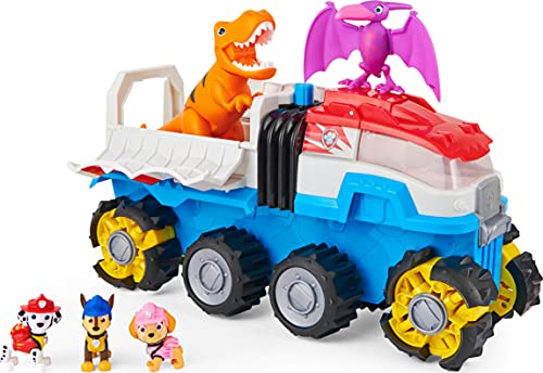 Paw Patrol, Dino Patroller Motorized Vehicle with 3 Exclusive Bonus Action Figures and 2 Dinosaur Toys (Amazon Exclusive), Kids Toys for Ages 3 and up