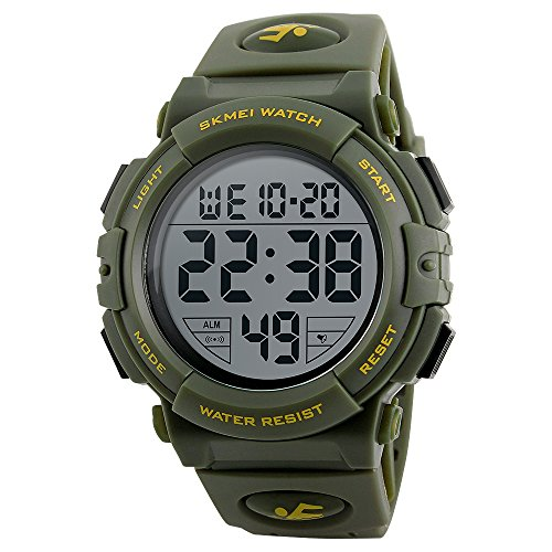 FEIWEN Mens Digitale Horloge Outdoor Sport Stijl Grote Wijzerplaat Militaire Multifunctionele Waterdichte Horloges Grote Wijzerplaat LED Achterlicht Alarm Stopwatch Kalender, Groen