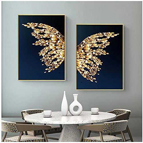 Cuadros Decoracion Salon Modernos 60x80cm x2 Piezas SIN MarcoLienzo de alas Doradas abstractas Que pintan un Cartel Azul Hermoso de la MariposaCuadros Decoracion dormitorios