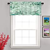 Shrahala Watercolor Green Beautiful Kitchen Valances Half Window Curtain, Blue Floral Beautiful Vintage for Retro Abstract with Valance for Window Ink Printing Valances Curtains 52x18 inch